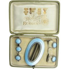 Marius Hammer Boxed Set of Buckle, Cufflinks, and Buttons in Pale Blue Enamel Embossed Seal, Vintage Belt Buckles, Fashion Belts, White Enamel, Makers Mark, Artisan Jewelry, Shades Of Blue, Jewelery, Cufflinks