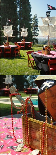 pirate themed party. love the tables!
