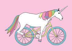 """Artist Credit:Mike Joos Art* Discovered while searching for """"Unicorns riding bikes"""""""