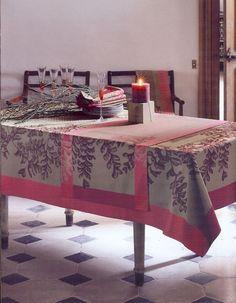 Garnier Thiebaut French Linen Tablecloth / Runner ( Fougeres) 100% cotton Damask #GarnierThiebaut