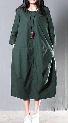 Green plus size cotton sundress summer maxi dresses causal traveling dresses