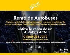 Renta de autobuses Viajamos por toda la República Mexicana, cotiza la renta a tu destino favorito al 01 800 026 7373  #ACNTeMueve #Rentaautobuses #ServicioACN #autobuses #México