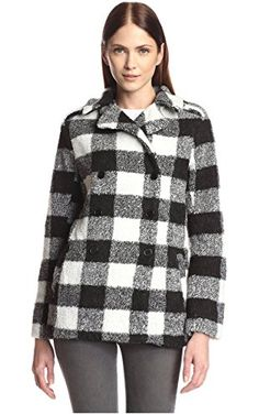 Lucca Couture Women's Buffalo Plaid Peacoat, Black/White, XS ❤ Lucca Couture