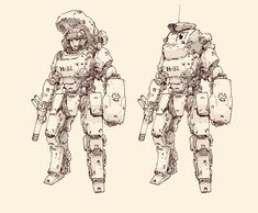 concept work by yu zhang. Arte Robot, Robot Art, Robot Concept Art, Armor Concept, Sketch Inspiration, Character Design Inspiration, Character Concept, Character Art, Sci Fi Armor