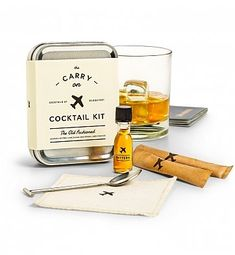 The Carry On Cocktail Kit - Specialty Gift: it's everything you need to mix up two delicious Old Fashioned cocktails on your next flight - just add whiskey and ice! Compact and complete, it's a thoughtful gift for any jet-setting cocktail-lover.
