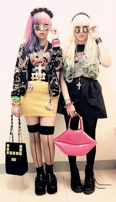 stockings and comedy bag with other eclectic looks... ----------- #japan #japanese #harajuku