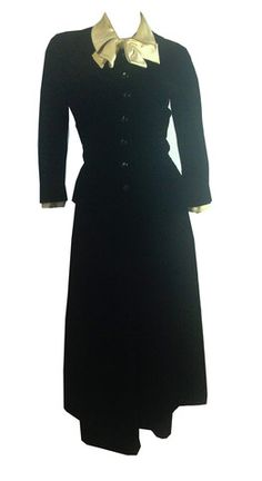 New Look Black Velvet Nipped Waist Dress w/ Silk Bow circa 1940s Jerry Parnis- Dorothea's Closet Vintage
