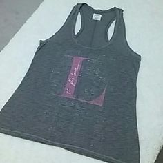 """AE """"Love"""" Tank Sz L AE """"Love"""" Tank Sz L...super cute gray racerback tank with L is for love on front...worn once or twice...in excellent condition American Eagle Outfitters Tops Tank Tops"""