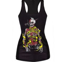 Sexy Tank top women t-shirt black vest tops 3D print ribs skull bone camisole knitted polyester horror