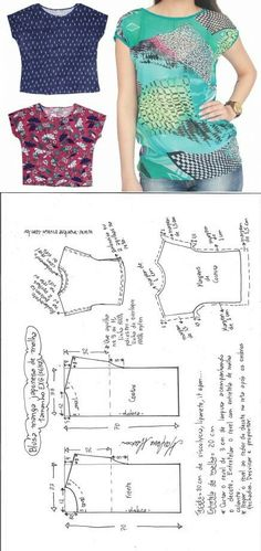 Sewing Blusas Blusa manga japonesa malha – DIY – molde, corte e costura – Marlene Mukai Dress Sewing Patterns, Sewing Patterns Free, Free Sewing, Clothing Patterns, Pattern Sewing, Clothing Ideas, Sewing Tutorials, Sewing Clothes Women, Free Clothes