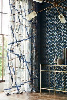 Tessellation by Harlequin – Marine / Copper – Wallpaper – 111986 Stunning Tessellation wallpaper design by Harlequin in marine blue and copper.