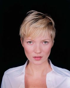 Kate Moss, 2001. Perhaps to transition out of her cocaine-chic look during the nineties, she cut her long hair into this pixie cut in 2001.