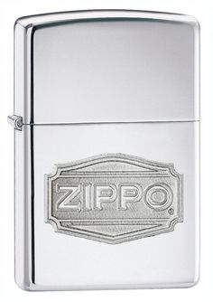 Zippo Logo High Polish Lighter (Silver, 5 1/2x3 1/2-cm). Finished with a Zippo logo design. Windproof design works virtually anywhere. Lighter requires fluid Fuel. Standard size case. Hinged lid lighter. Subtle high and low, texture and smooth dimensions of Double Luster are beautifull illustrated on a new Zippo logo treatments.