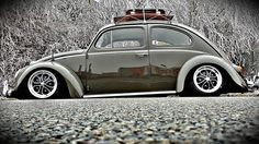 """'60 VW Beetle with 15"""" DSR style wheels by Raw Classics https://www.facebook.com/Raw.Classics.Wheels"""