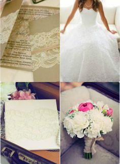 Vintage Spitze Hochzeit Einladungen Weiß