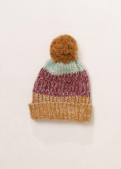 Tri Tone Pom Pom Hat .... #lookbym #pompom #hat #tritone #multicolor #winter #fall #coldweather #accessories #fashion #womensaccessories