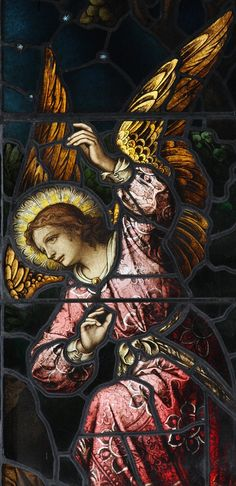 Mayer stained glass window detail; angel from the Jacob's Ladder window | by dtallerico5252