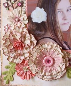Great tutorial for making these hand made paper flowers!  Distressing with water makes them very realistic! Bo Bunny blog. #papercrafts #scrapbooking #DIY #crafts #flowers pb≈