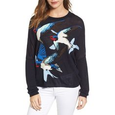 Women's Paul & Joe Sister Intarsia Sweater (5,740 HNL) ❤ liked on Polyvore featuring tops, sweaters, navy, knit top, navy knit sweater, navy knit top, blue sweater and navy blue top