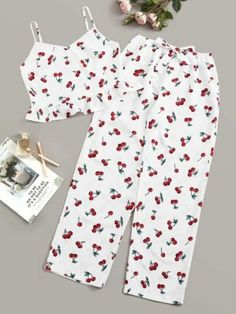 To find out about the Cherry Print Cami Top & Pants PJ Set at SHEIN, part of our latest Pajama Sets ready to shop online today! Cute Sleepwear, Silk Sleepwear, Sleepwear Women, Pajamas Women, Nightwear, Cute Pajama Sets, Cute Pajamas, Teen Fashion Outfits, Girl Outfits
