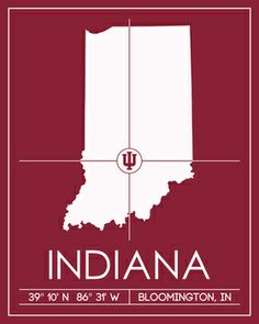 Indiana University Map Wall Art Picture at Indiana Hoosier Photos