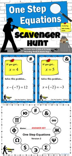 This packet includes two (2) versions of the One Step Equations Scavenger Hunt activity - a total of 24 cards.