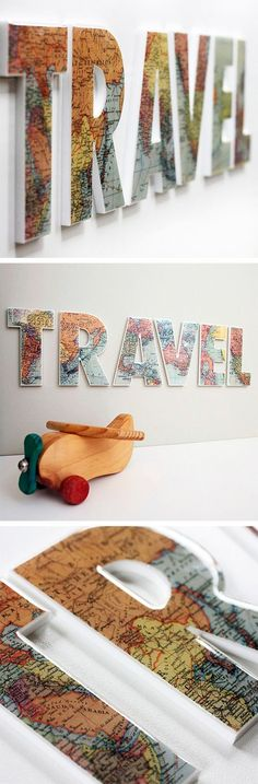 Travel Map Letters // #DIY #idea