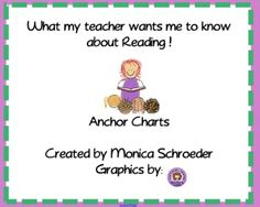 What my Teacher Wants me to Know about READING is a smartboard file of Anchor Charts that I use in my classroom. My wall space is limited so I make...