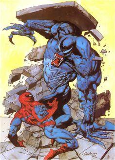 Spider-Man v Venom art by Simon Bisley