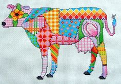 Gorgeous Patchwork Cow cross stitch design instant download PDF  Final stitched size is approx 8.2 x 5.5 inches. Stitching Key is included. Full