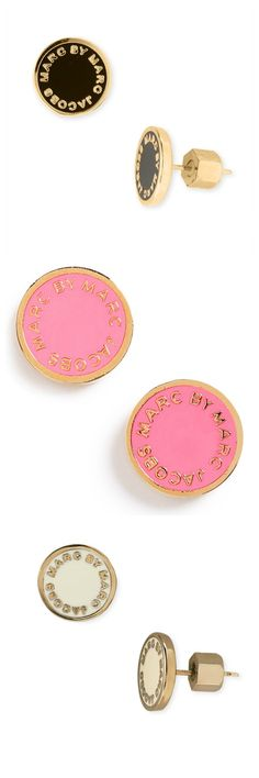 Can't decide whether to wear the pink, gold, or cream Marc Jacobs logo earrings.