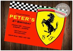 Ferrari Birthday Party Invitation -JPEG and PDF Digital Download