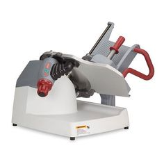 """Berkel X13E 13"""" Manual Gravity Feed Slicer - X13 Series by Berkel. $2640.00. Features: Sealed stop/start switches, Large product table with extra capacity, Slices rectangles up to 10 1/2"""" x 6 3/4"""", squares up to 7 1/2"""" and rounds up to 8 1/2"""". Benefits: Borazon sharpening stones for fast, accurate sharpening and extended life, Articulating and full length rear mounted meat pusher to secure and advance products evenly, One piece FDA polymer base and product table for ..."""
