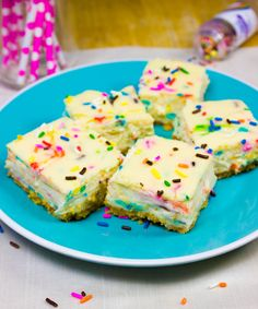 Easy to make Funfetti-flavored cheesecake squares.