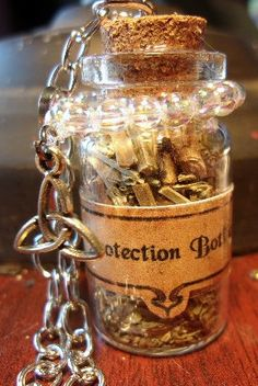 Protection Broomstick Charm Bottle by KazanCauldron on Etsy