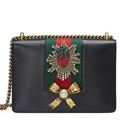 Gucci Peony Strawberry Black Leather shoulder bag