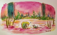 """Jennifer (Jennloop) Lindroos on Twitter: """"Evening swim, waiting for company. For the #colour_collective this week.  #watercolor"""