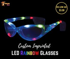 Neon Colored Rainbow Hearts Print Sunglasses w// Various Lens Styles Mirror Black