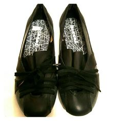 Diesel Flats Black with shiny grey. Worn once! No scuffs or any wear or tear! Diesel Shoes Flats & Loafers