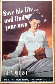 nurse ads in world war ii | 1943 NURSE Original Vintage War WW2 Poster Army Navy Soldier Sailor v ...