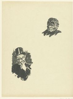 Henri Charles Guerard | Twee hoofden van mannen, Henri Charles Guerard, 1895 | Twee hoofden van mannen op karikaturale wijze weergegeven.