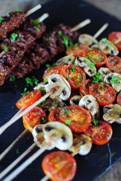 Tomato and mushroom skewers – La popotte de Manue – The most beautiful recipes Barbecue Recipes, Grilling Recipes, Cooking Recipes, Healthy Recipes, Barbecue Party, Healthy Food, Receta Bbq, Pork Ribs, Summer Recipes
