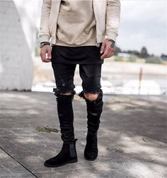 65.00$  Watch now - http://alip6w.worldwells.pw/go.php?t=32553576693 - Fashion 2015 new ripped skinny jeans mens personality rock style jean pant slim skinny pants distressed calca jeans