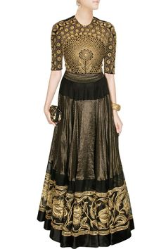 Black and gold hand embroidered lehenga set available only at Pernia's Pop Up Shop.