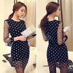 Cheap dress pro, Buy Quality mini dress fashion directly from China mini mouse dress Suppliers: 2016 Sexy Women Sheer Mesh Dress Long Sleeve Polka Dot Office Party Dresses Spring Autumn Bodycon Casual Mini Vestidos Office Party Dress, Long Sleeve Mesh Dress, Dress Long, Red Polka Dot Dress, Club Party Dresses, Elegant Dresses For Women, Trends, Vintage, Dress Black