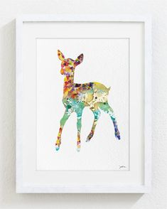 Happy Deer Watercolor Print - 5x7 Archival Print - Deer Painting - Deer Art Print - Wall Decor Art Home Decor Housewares via Etsy