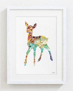 Deer Art Watercolor Painting  Minimalist Art by ElfShoppe on Etsy, $20.00