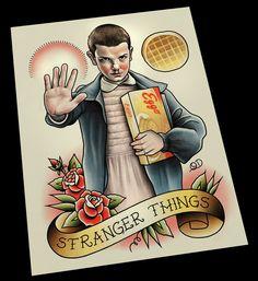 Stranger Things, Eleven Tattoo Flash Fan Art by Quyen Dinh www.parlortattooprints.com