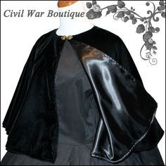 1800's Civil War Victorian Black Velvet Cape by CivilWarBoutique