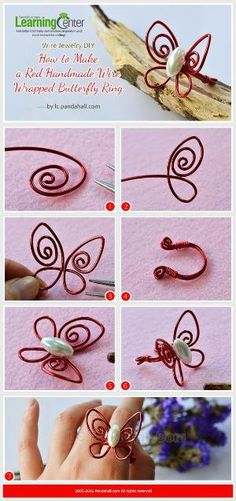 Wire Jewelry DIY - How to Make a Red Handmade Wire Wrapped Butterfly Ring from LC.Pandahall.com | Jewelry Making Tutorials & Tips 2 | Pinterest by Jersica